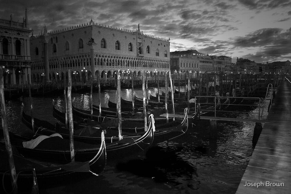 Gondolas in Venice, Italy by Joseph Brown