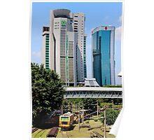 Old Train, Futuristic Buildings - Kuala Lumpur, Malaysia. Poster