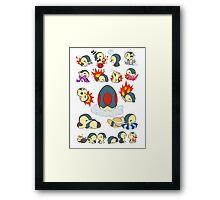 cyndaquil kawaii design  Framed Print