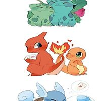 pokemon first gen starters love cute design by pokemonequisde