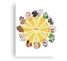 zpdiac calendar pokemon 5th gen Canvas Print