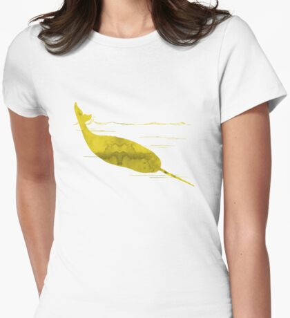 Yellow Narwhal Womens Fitted T-Shirt