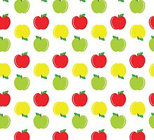 Yellow, Red, and Green Apples Pattern by SonyaDeHart