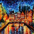 Amsterdam, Canal — Buy Now Link - www.etsy.com/listing/176889283 by Leonid  Afremov