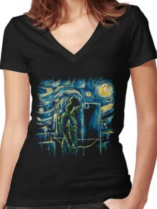 Starling Night (Arrow & Van Gogh) Women's Fitted V-Neck T-Shirt