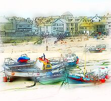 Boats once more as a Painting by Anthony Hedger Photography