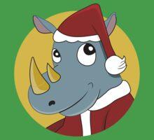Christmas Rhinoceros  One Piece - Short Sleeve