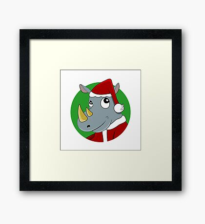 Christmas Rhinoceros  Framed Print