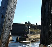Whitby Abbey from pier head by Alan Thackray