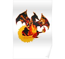 Pokemon - Charizard red fire - White Version Poster