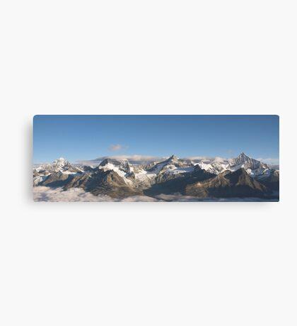 Mountain range above Zermatt in the morning. Canvas Print