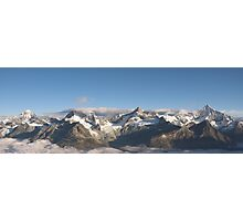 Mountain range above Zermatt in the morning. Photographic Print