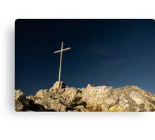 summit cross on deep blue sky Canvas Print
