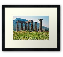 Towards the Acrocorinth, with Temple of Apollo Framed Print