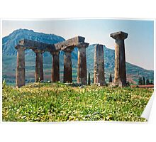 Towards the Acrocorinth, with Temple of Apollo Poster