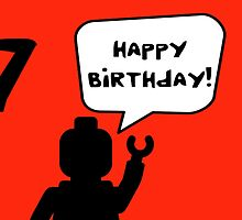 Happy 7th Birthday Greeting Card by Customize My Minifig