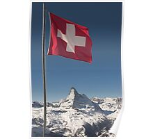 Swiss flag and matterhorn Poster