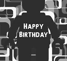 Retro Minifig Art Happy Birthday  by Customize My Minifig