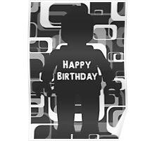 Retro Minifig Art Happy Birthday  Poster