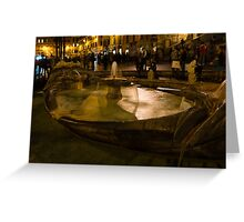 Oasis of Calm Water in the Middle of the Hustle and Bustle of the Piazza Greeting Card