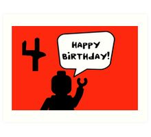 Happy 4th Birthday Greeting Card Art Print