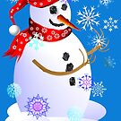 Christmas Snowman Catching Snowflakes by Lotacats