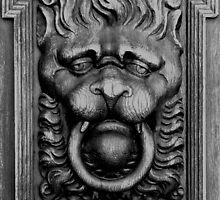 B&W Lion Door Carving by Mark Wilson