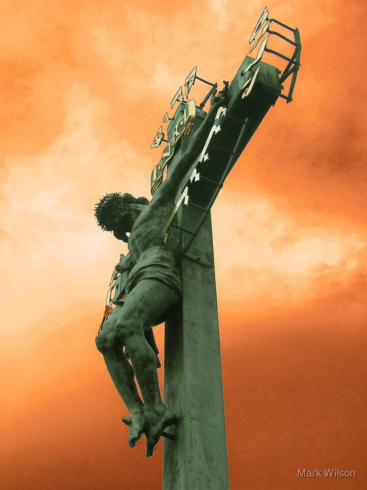 Charles Bridge Statue against Orange Sky by Mark Wilson