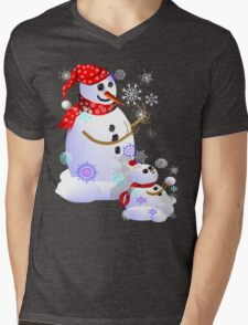 Daddy and Baby Snow Mens V-Neck T-Shirt