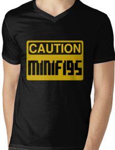 Caution Minifigs Sign Mens V-Neck T-Shirt