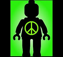 Black Minifig with Peace Symbol, Customize My Minifig by Customize My Minifig