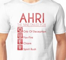 Champion Ahri Skill Set In Red Unisex T-Shirt