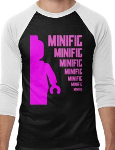 Dark Pink Minifig with MINIFIG text, Customize My Minifig Men's Baseball ¾ T-Shirt