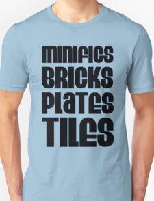 """MINIFIGS BRICKS PLATES TILES"", Customize My Minifig T-Shirt"