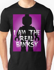 "Black Minifig with ""I am the Real Banksy"" slogan, Customize My Minifig T-Shirt"