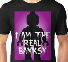 """Black Minifig with """"I am the Real Banksy"""" slogan, Customize My Minifig Unisex T-Shirt"""