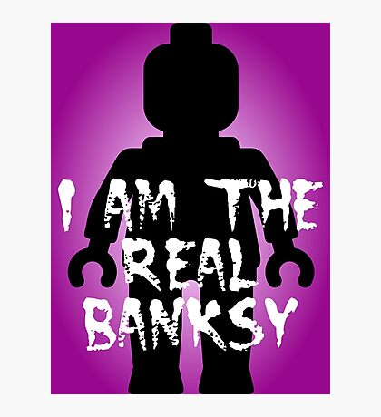 """Black Minifig with """"I am the Real Banksy"""" slogan, Customize My Minifig Photographic Print"""