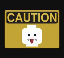 Caution Rude Minifig Head Sign Kids Tee
