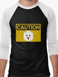 Caution Rude Minifig Head Sign Men's Baseball ¾ T-Shirt