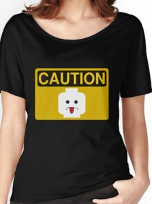 Caution Rude Minifig Head Sign Women's Relaxed Fit T-Shirt