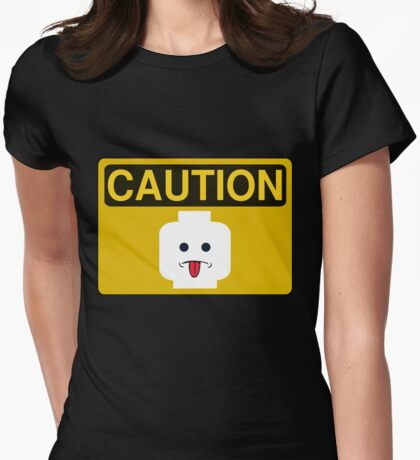 Caution Rude Minifig Head Sign Womens Fitted T-Shirt