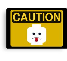 Caution Rude Minifig Head Sign Canvas Print