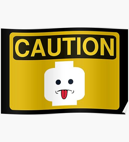 Caution Rude Minifig Head Sign Poster