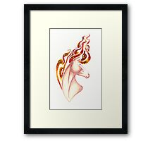Marbled Fire Horse Portrait Painting Framed Print