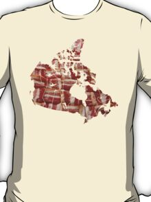 Canada - Canadian Bacon Map - Woven Strips T-Shirt