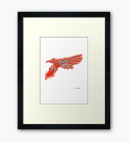 Fire Dragon On White Framed Print