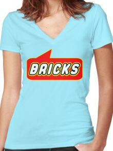 Bricks, Bubble-Tees.com Women's Fitted V-Neck T-Shirt