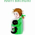 Happy Birthday, black cat and little girl by Mary Taylor