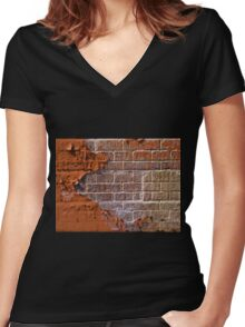 Textured red bricks wall Women's Fitted V-Neck T-Shirt