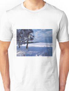 Beautiful winter landscape background Unisex T-Shirt